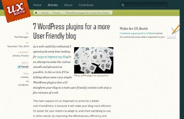 http://www.uxbooth.com/blog/7-wordpress-plugins-for-a-more-user-friendly-blog/