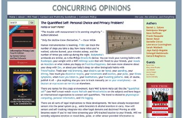 http://www.concurringopinions.com/archives/2010/11/the-quantified-self-personal-choice-and-privacy-problem.html