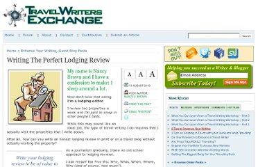 http://www.travel-writers-exchange.com/2010/08/writing-the-perfect-lodging-review/