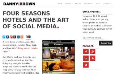 http://dannybrown.me/2010/05/10/four-seasons-hotels-art-of-social-media/