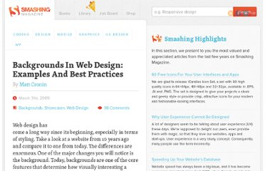 http://www.smashingmagazine.com/2009/03/31/backgrounds-in-web-design-examples-and-best-practices-2/