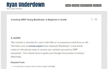 http://ryanunderdown.com/linux/cracking-wep-using-backtrack.php