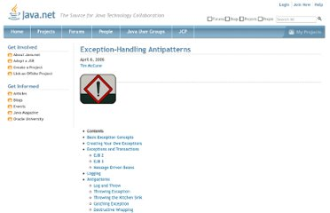 http://today.java.net/pub/a/today/2006/04/06/exception-handling-antipatterns.html