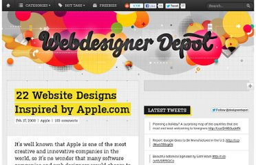 http://www.webdesignerdepot.com/2009/02/22-website-designs-inspired-by-applecom/