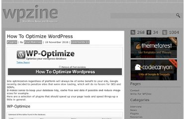 http://wpzine.com/how-to-optimize-wordpress/