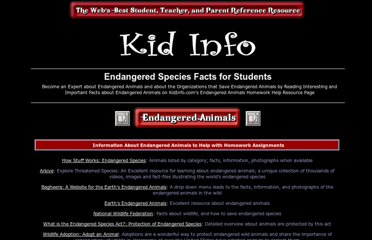 http://www.kidinfo.com/Science/Endangered_animals.html
