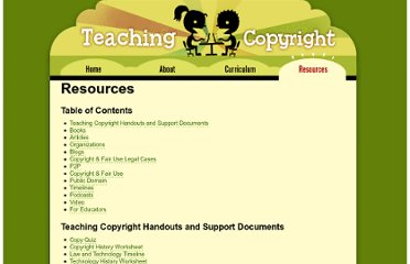 http://www.teachingcopyright.org/resources