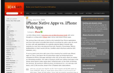 http://ajaxian.com/archives/iphone-native-apps-vs-iphone-web-apps