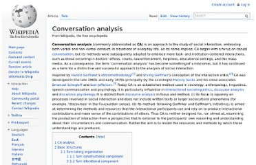 http://en.wikipedia.org/wiki/Conversation_analysis