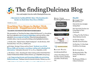 http://blog.findingdulcinea.com/2010/10/teaching-ten-steps-to-better-web-research-supplemental-materials.html