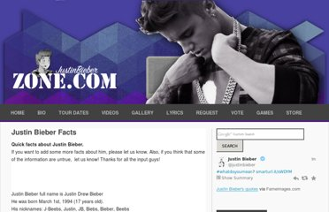 http://www.justinbieberzone.com/about-justin-quick-facts/