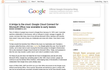 http://googleenterprise.blogspot.com/2010/11/bridge-to-cloud-google-cloud-connect.html