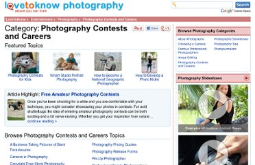 http://photography.lovetoknow.com/Category:Photography_Contests_and_Careers