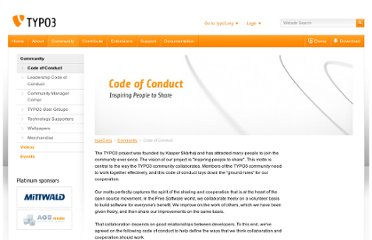 http://typo3.org/community/code-of-conduct/