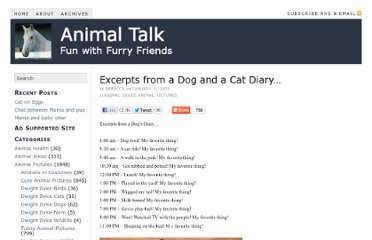 http://www.animaltalk.us/excerpts-from-a-dog-and-a-cat-diary/