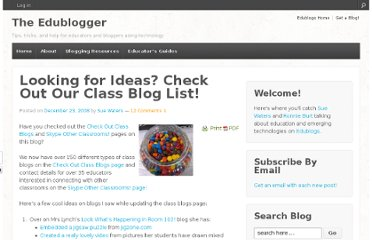 http://theedublogger.com/2008/12/23/looking-for-ideas-check-out-our-class-blog-list/