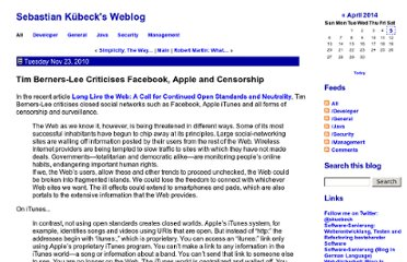 http://www.jroller.com/sebastianKuebeck/entry/tim_berners_lee_criticises_facebook