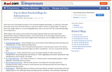 http://entrepreneurs.about.com/b/2005/10/24/top-10-most-practical-blogs-for-entrepreneurs.htm