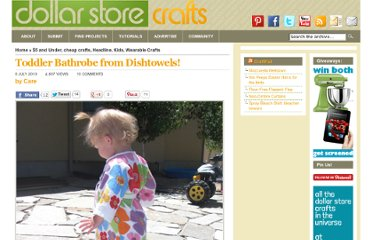 http://dollarstorecrafts.com/2010/07/toddler-bathrobe-from-dishtowels/