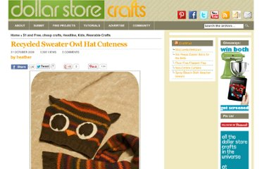http://dollarstorecrafts.com/2009/10/sweater-owl-hat/
