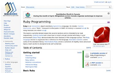 http://en.wikibooks.org/wiki/Ruby_Programming#Table_of_Contents