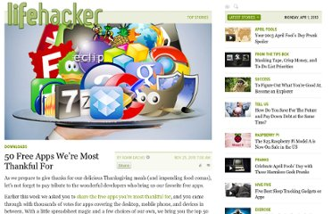 http://lifehacker.com/5698593/50-free-apps-were-most-thankful-for