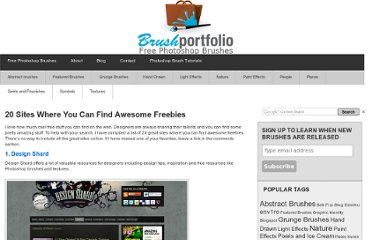 http://www.libertiny.com/brushportfolio/2009/06/20-sites-where-you-can-find-awesome-freebies/