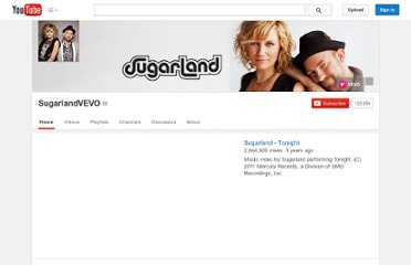 http://www.youtube.com/user/SugarlandVEVO