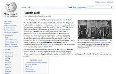 http://en.wikipedia.org/wiki/Fourth_wall