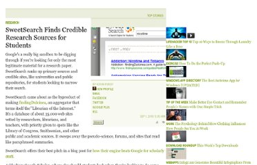 http://lifehacker.com/5627296/sweetsearch-finds-credible-primary-sources-for-students