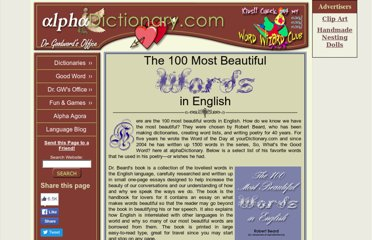 http://www.alphadictionary.com/articles/100_most_beautiful_words.html