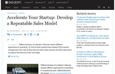 http://gigaom.com/2010/11/27/accelerate-your-startup-a-repeatable-scalable-sales-model/