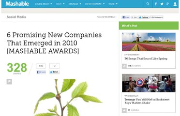 http://mashable.com/2010/11/27/promising-new-companies/