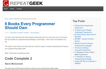http://repeatgeek.com/tools/6-books-every-programmer-should-own/