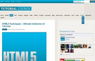 http://www.tutoriallounge.com/2010/11/html5-techniques-ultimate-collection-of-tutorials/