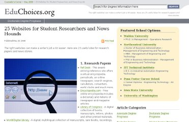 http://educhoices.org/articles/25_Websites_for_Student_Researchers_and_News_Hounds.html