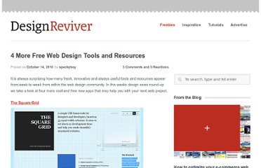 http://designreviver.com/freebies/4-more-free-web-design-tools-and-resources/