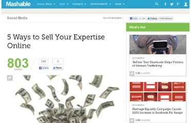 http://mashable.com/2010/11/29/sell-expertise-online/