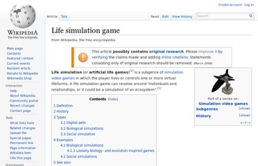http://en.wikipedia.org/wiki/Life_simulation_game
