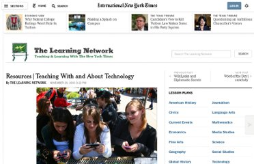 http://learning.blogs.nytimes.com/2010/11/29/resources-teaching-with-and-about-technology/