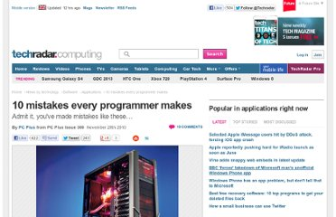 http://www.techradar.com/news/software/applications/10-mistakes-every-programmer-makes-909424