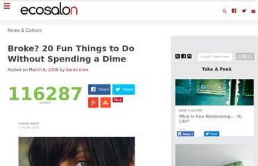 http://ecosalon.com/broke-20-fun-things-to-do-without-spending-a-dime/