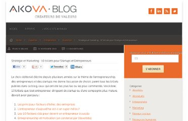 http://blog.akova.ca/2010/11/strategie-et-marketing-10-billets-pour-startups-et-entrepreneurs/