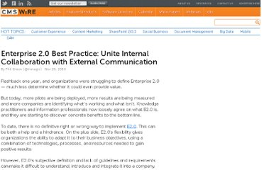 http://www.cmswire.com/cms/enterprise-20/enterprise-20-best-practice-unite-internal-collaboration-with-external-communication-009388.php