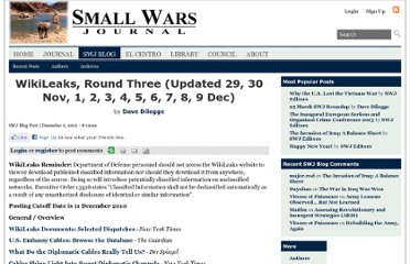 http://smallwarsjournal.com/blog/2010/11/wikileaks-round-three/