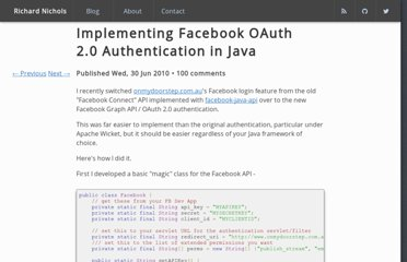 http://www.richardnichols.net/2010/06/implementing-facebook-oauth-2-0-authentication-in-java/