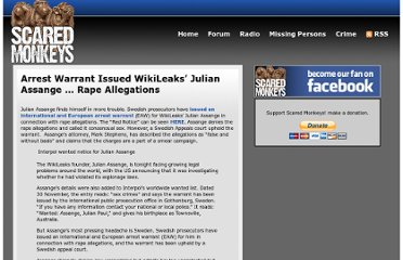 http://scaredmonkeys.com/2010/11/30/arrest-warrant-issued-wikileaks-julian-assange-rape-allegations/