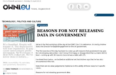 http://owni.eu/2010/11/19/reasons-for-not-releasing-data-in-government/