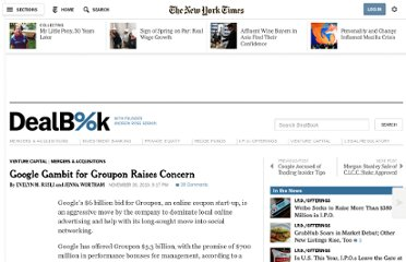 http://dealbook.nytimes.com/2010/11/30/googles-gambit-for-groupon-raises-concerns/