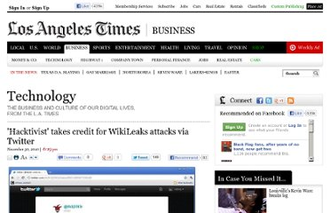 http://latimesblogs.latimes.com/technology/2010/11/hacktivist-takes-credit-for-wikileaks-attacks-via-twitter.html